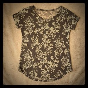 Grey and mint green floral print T-Shirt